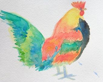 rooster original watercolor painting