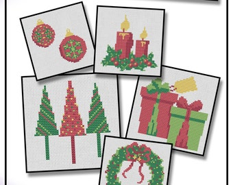"Christmas Card Cross Stitch Kit. Five 4"" designs with cards and envelopes"