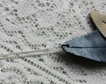 Headband sheet in blue leather