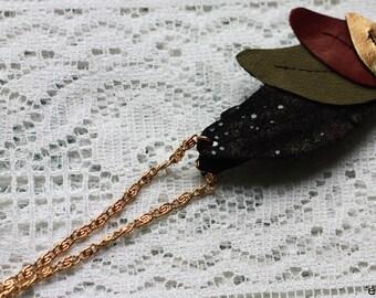 Headband sheet leather Khaki, black and gold
