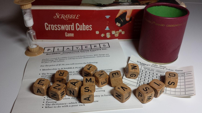 1968 Scrabble Crossword Cubes Vintage Game