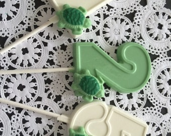 "NUMBERED ""TURTLE"" Chocolate Pops - (1-6 Available)(12 qty) - Turtles/Turtle Party/Party Favors/TURTLE Favors/Birthday Party/Under The Sea"