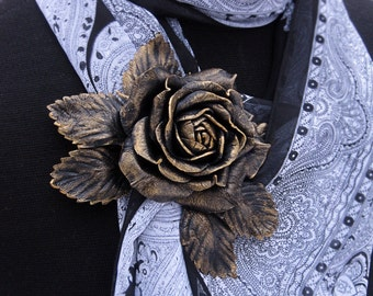 Bronze rose flower brooch made of real leather