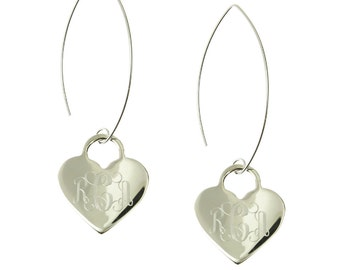 925 Sterling Silver Heart Monogram Personalized Dangle Earrings