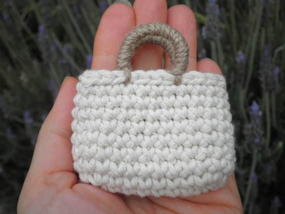 Free Crochet Pattern For Small Tote Bag : FREE SHIPPING Miniature Tote Bag Small Crochet Bag Natural