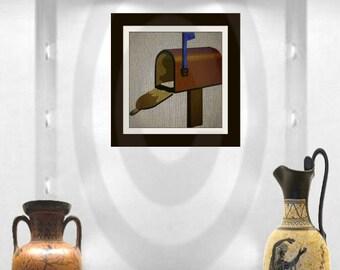 vintage Brown Mailbox digital download wall art, printable , 2 size