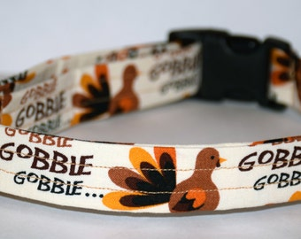 Thanksgiving Dog Collar – Turkey Gobble Dog Collar – Turkey Dog Collar – Fall Dog Collar - Handmade Fabric Dog Collar
