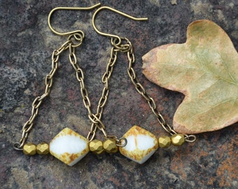 White and Brass Triangle Dangle Earrings