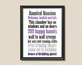 Disney's Haunted Mansion Ride Inspired Quotes Subway Art Print Halloween Decor - INSTANT DOWNLOAD