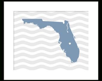 Florida Map - Orlando - Custom Florida Map - Poster - Print - Custom City Map