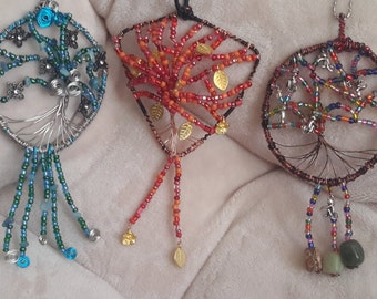 These are my NEW handmade rear view mirror/garden charms!