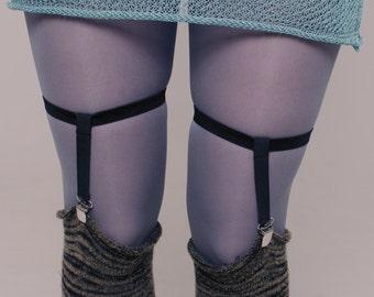 Sock garters, leg garters, elastic black garters, 50 shades tight garters, clip garters, knee sock garters, adjustable garters ANDADA 003