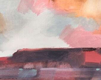 Original semi-abstract landscape painting • Magenta Landscape – by Simon Palmer (Australia)