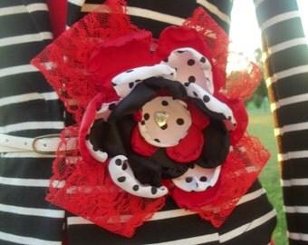 red and polka dot belt flower pin/ sash pin/ lapel pin