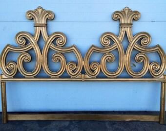 Hollywood Regency style Vintage Cast Iron Gold Gilt King Size Headboard