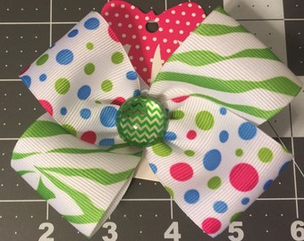 Polka Dots and Zebra Print Bow