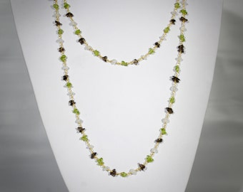 22K gold plated gemstones chain necklace with Peridot, Smokey Quartz and white opal gem chips