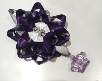 One purple and sliver crown bling romany pram charm