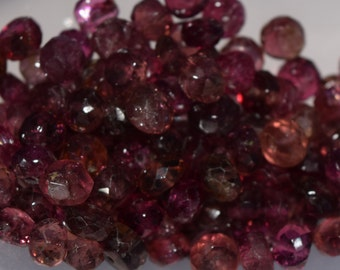 Natural Pink Tourmaline Rondelle Beads, 4mm x 2mm -5mm x 3mm, Faceted gemstone beads, semi precious stone beads