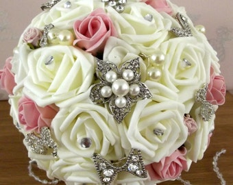 Wedding Bridal Bouquet.Ivory & Blush Pink roses.brooches.