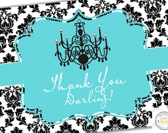 Breakfast At Tiffany's Thank You Darling Bridal Shower Thank You Card, Instant Download, Breakfast At Tiffanys Decor