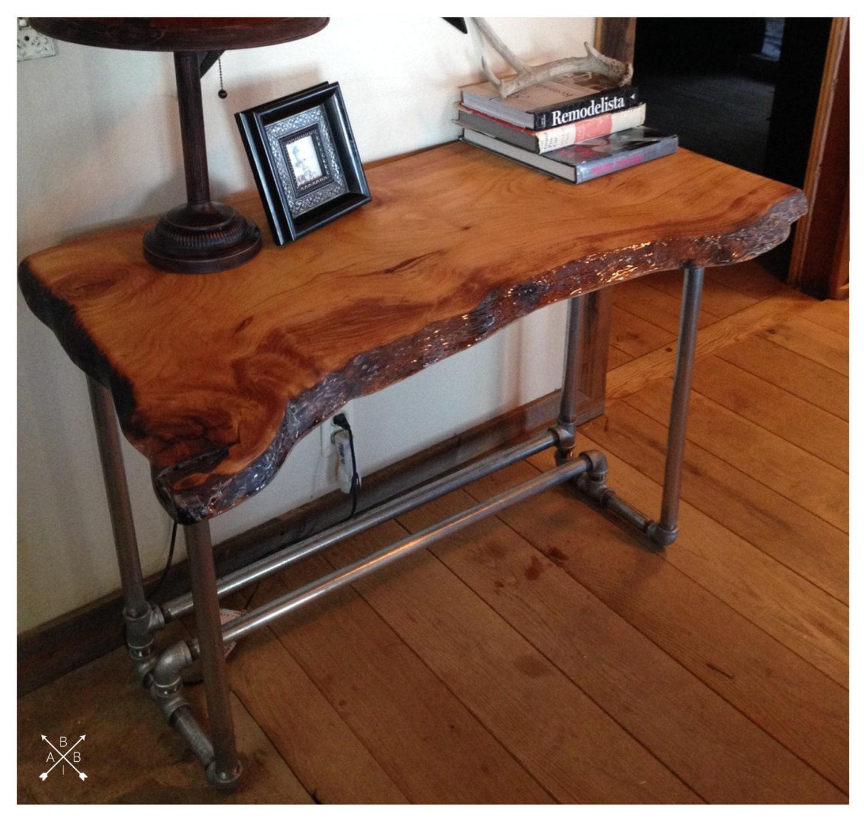 live edge wood slab desk. Black Bedroom Furniture Sets. Home Design Ideas