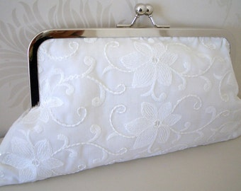 Bride or bridesmaid purse, clutch bag in beautiful embroidered sequined cotton fabric in Ivory, Fabric no.5