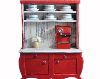 MiniMolly Dollhouse Furniture Kitchen Cupboard Crockery Coffee Machine Buffet