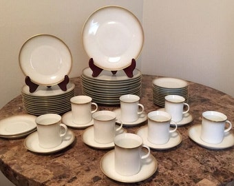 Dinner China Service for 12 German ROSENTHAL CONTINENTAL DAWN 4080 Gold, Fine Bone China Set
