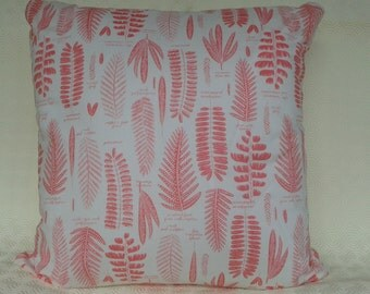 Botanical Pink Fern Print Cushion Including Plump Pad.
