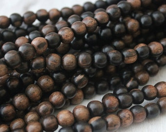 8mm Round Tiger Ebony Beads Natural Wood Beads Full strand Boho Chic