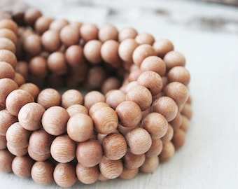 Untreated 10mm round rosewood pink natural wood beads jewelry supply