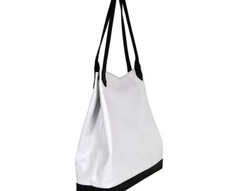 White Leather Purse for her, Tablet Bag, City Bag, Handbag, Shoulder Bag, Leather Tote Bag