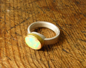 opal, silver and 22k gold ring