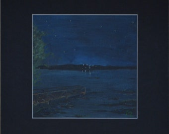 """Oil painting, classic plan air painting, nature  """"Night river"""" 6""""x6"""""""