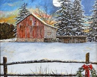 Country Art - Snow Painting - Christmas Wreath - Moon Painting - Winter Landscape - Farm Print - Barn Painting - Matted Print