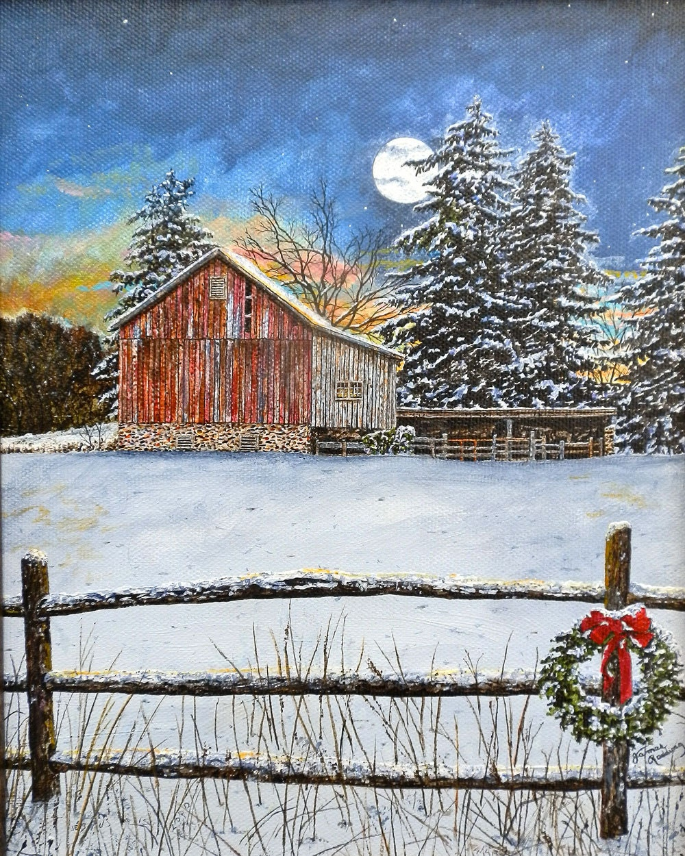 Country Art Snow Painting Christmas Wreath Moon Painting