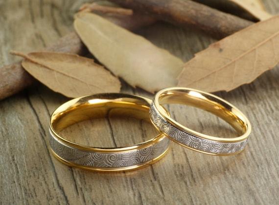Handmade Gold Wedding Bands Couple Rings Set Titanium Rings - photo #21