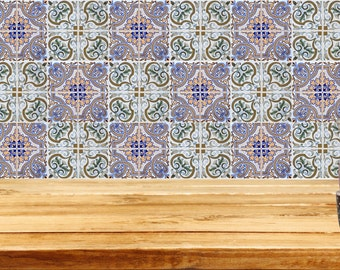 Set of 24 Kitchen Tile Decals Stickers mixed Tiles for shower Bathroom Talavera ceramic walls Accessories H204