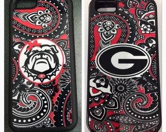 Paisley Georgia bulldogs iPhone 6 5 5s 5c 4 4s 6 plus case cover new red black paisley UGA paisley iPhone case university of georgia iPhone