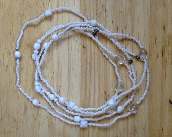 White Seed Beaded Necklace, Anklet, Bracelet
