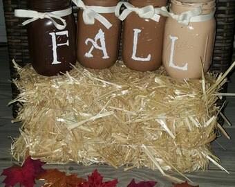 FALL set of 4 Mason Jars with Ribbon
