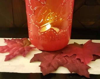 Red Maple Leaf Mason Jar - Wide Mouth Jar