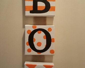 BOO Halloween Canvas & Burlap Sign