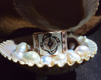 Native American Element design handcrafted copper ring band earth water fire wind