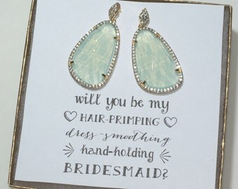 Set of 3 Mint Bridesmaid Sparkly Earrings, Mint Earrings for Bridesmaids, Large Earrings, Wedding Earrings, Bridesmaid Gift Jewelry, ES3