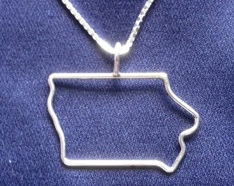 Sterling Silver Iowa State Charm Necklace