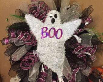 Black, silver, purple ghost wreath
