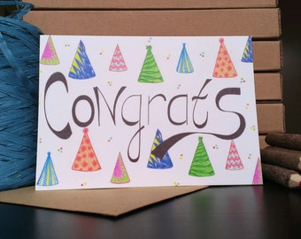 Card Congrats Party Hat - A6 Greeting Card with Envelope - Blank Card - Birthday Card - Congratulations Card - Card Recycled Paper.