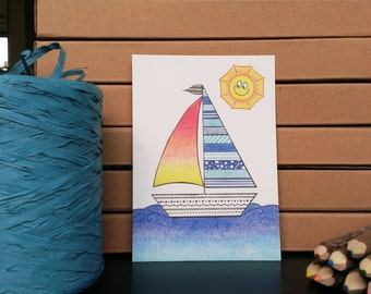 Card Sailboat - A6 Postcard - Blank Card - Just Because Card - Card Recycled Paper.